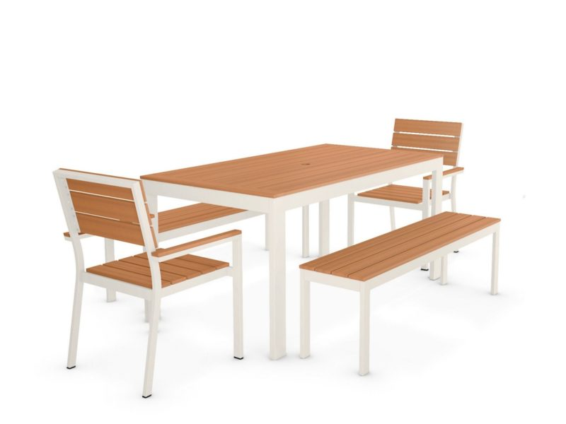 Outdoor dining table with 2 chairs and a bench
