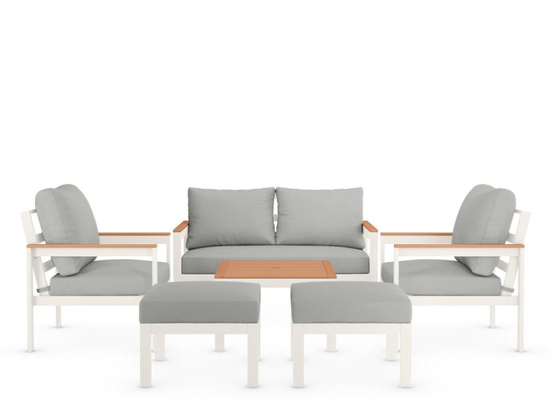 6-seater outdoor furniture set with white frames and grey cushions