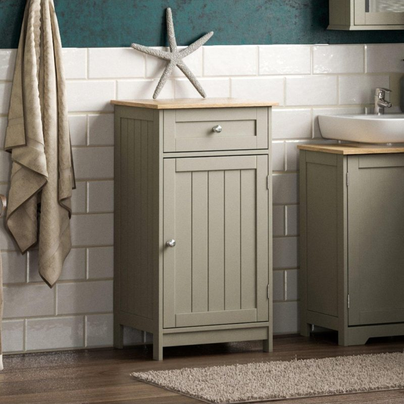 Grey-painted bathroom floor cabinet with single drawer