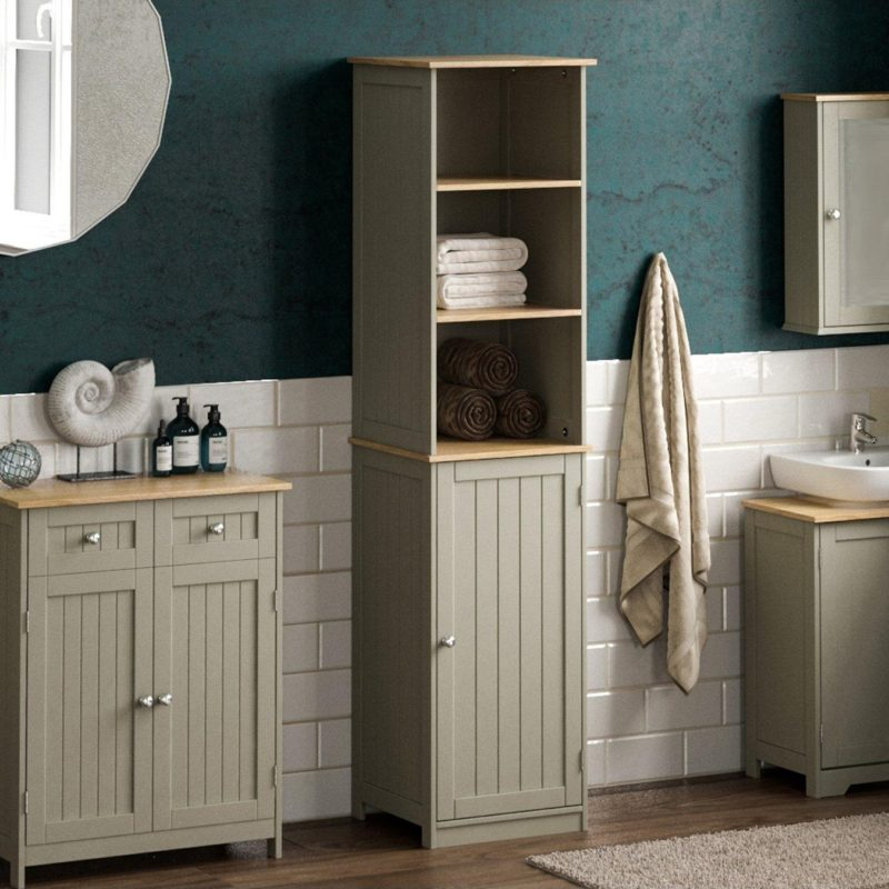 Tall grey bathroom cabinet with 2 shelves