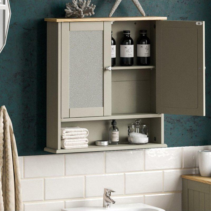 Grey 2-door bathroom cabinet with lower shelf