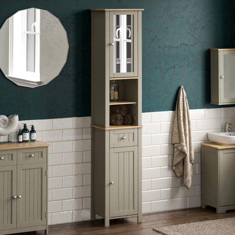 Grey-painted bathroom tallboy unit