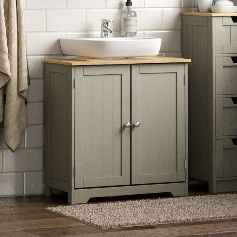 Grey 2-door under basin cabinet