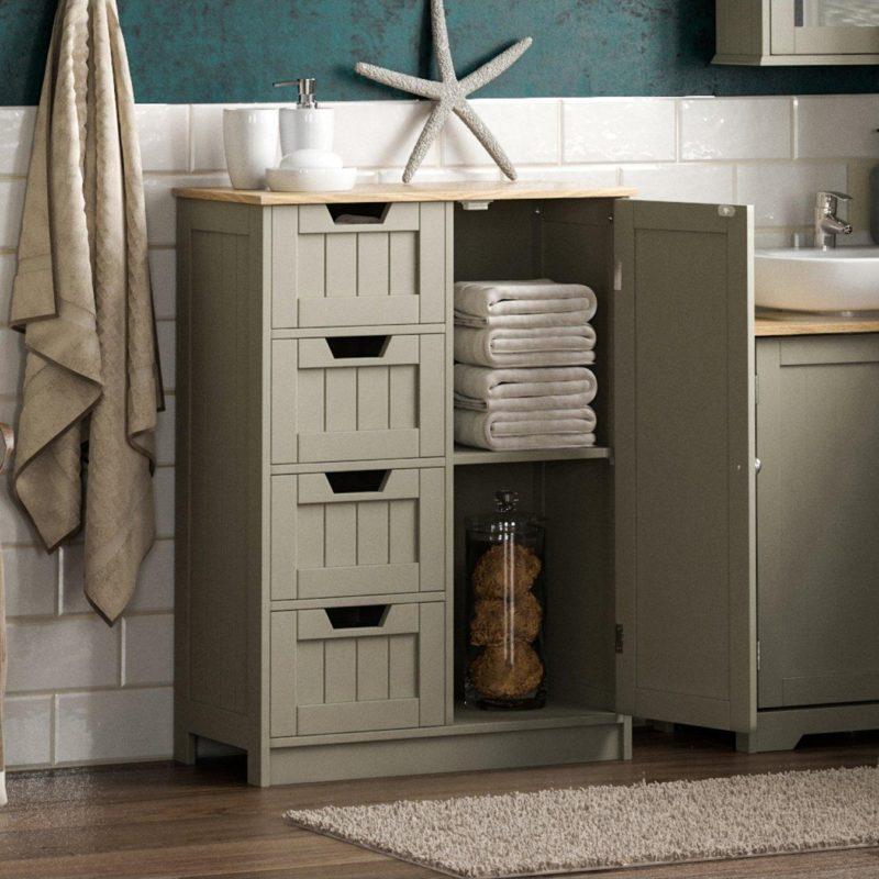 Grey bathroom floor cupbord with 4 drawers