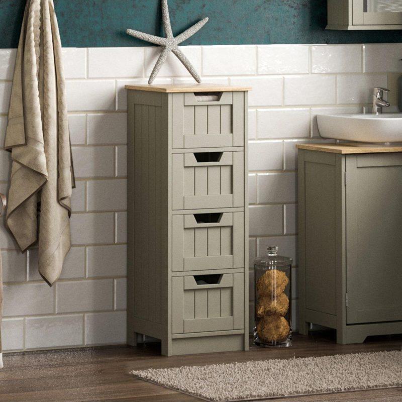 Grey 4-drawer bathroom unit