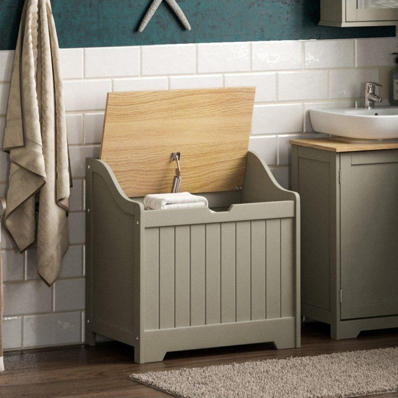 Grey-painted laundry hamper