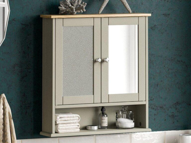 Grey-painted bathroom cabinet