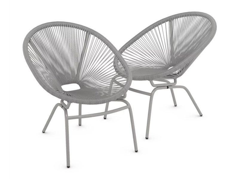 Pair of grey garden chairs