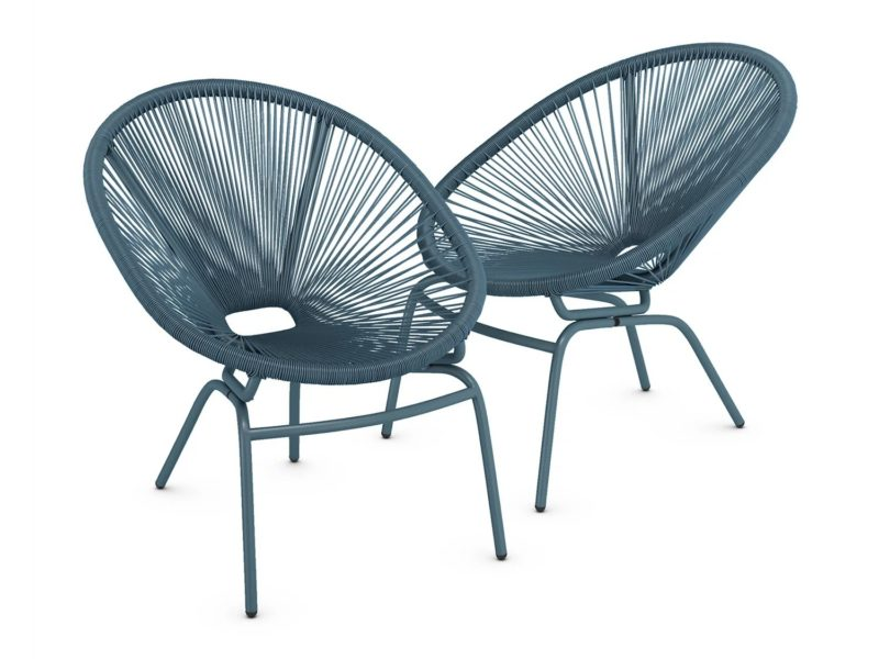 Pair of teal garden chairs