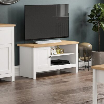 White-painted TV unit with oak effect top