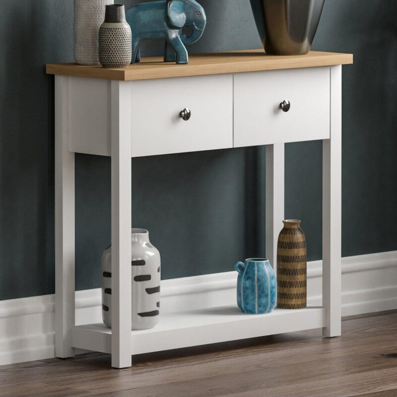 2-drawer, white and oak console table