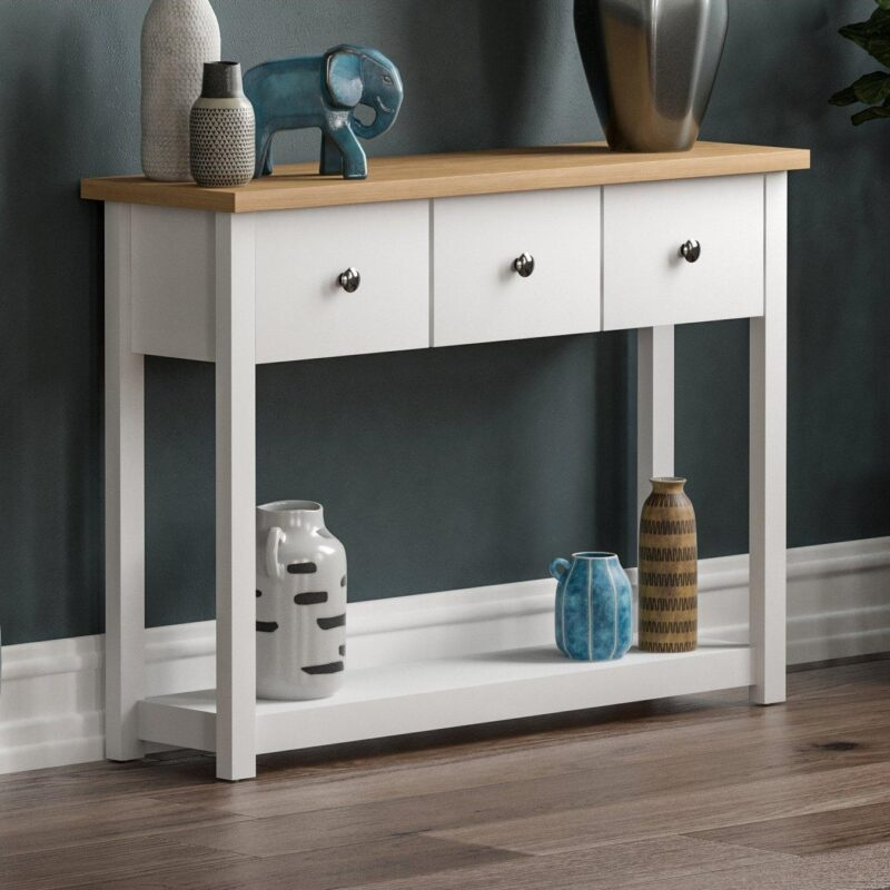 3-drawer, white and oak console table