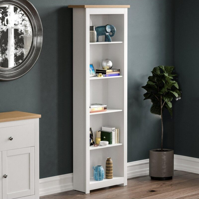 Tall white bookcase with oak top