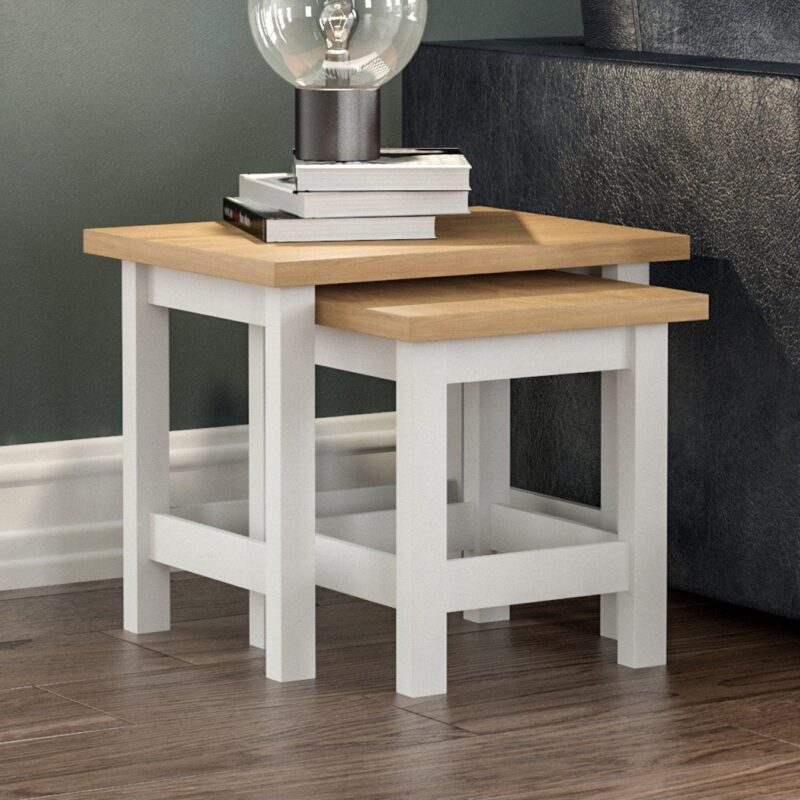 White painted nest of tables with oak finish tops