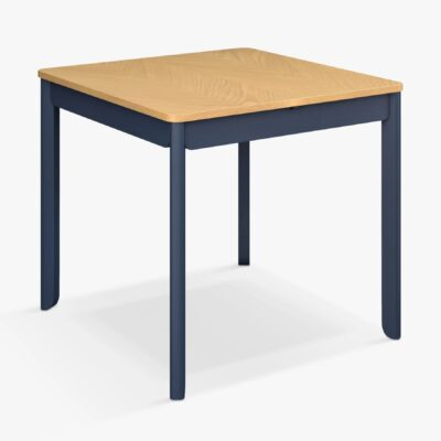 Square dining table with oak top and ink blue frame