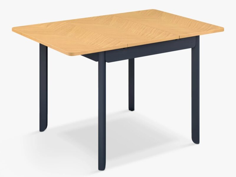 Extending dining table with ink blue painted frame