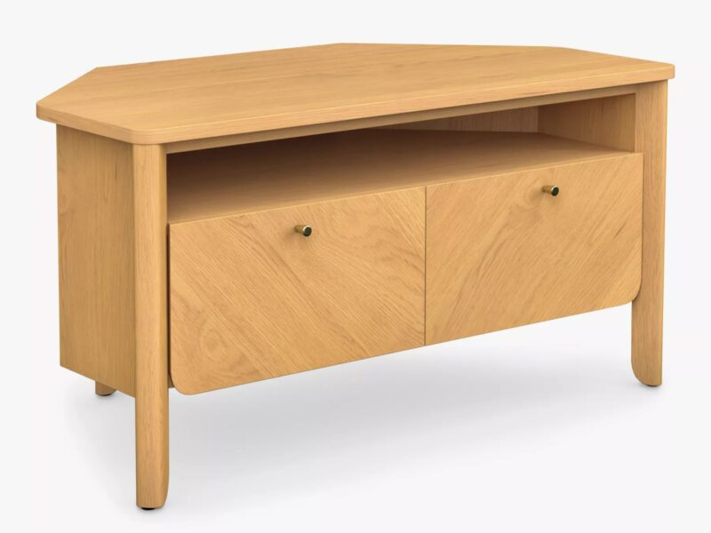 Corner TV stand with oak finish