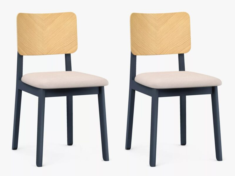 Dining chairs with oak backrests and ink blue frames