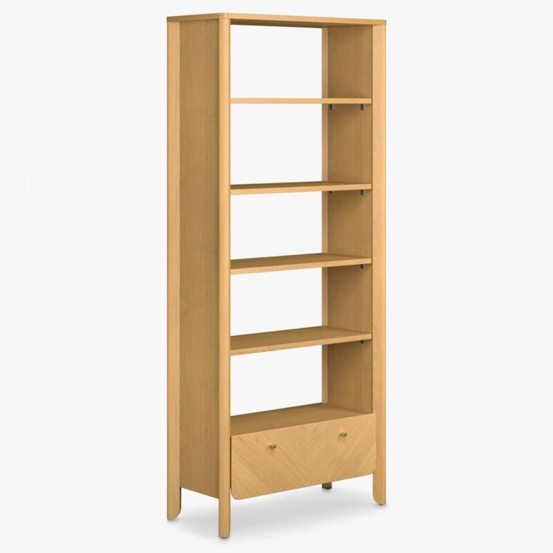 Tall oak bookcase with drawer