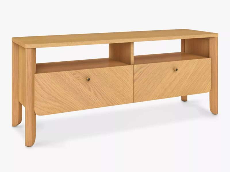 Wide TV unit with two drawers, oak