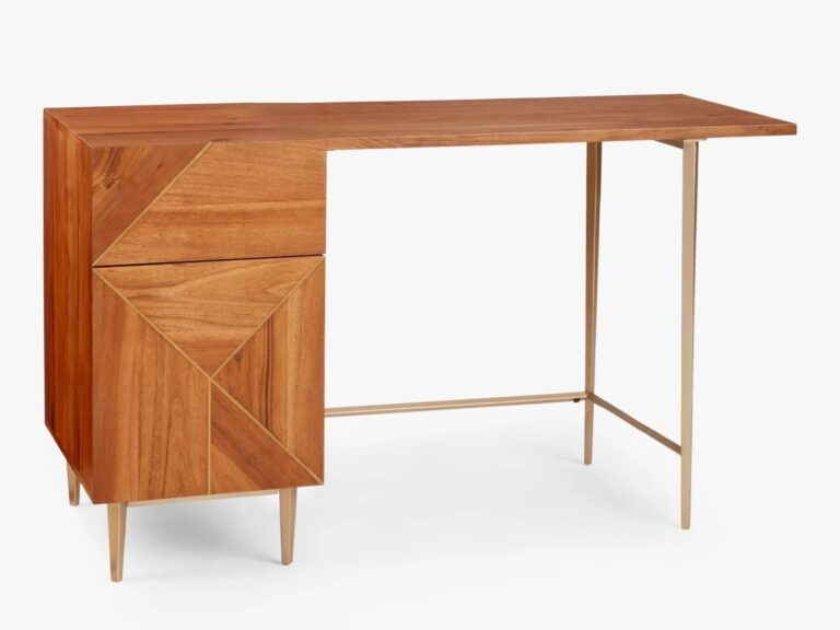Home desk with polished venner finish and brass coloured legs