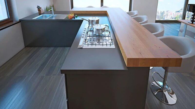 Black concrete worktop