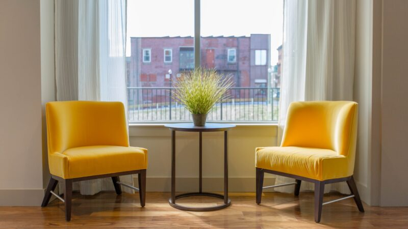 two chairs and plant creating a focal point by the window