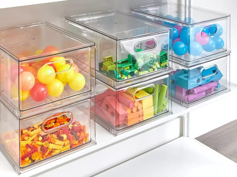Clear stacking storage units