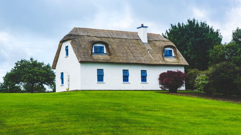 Thatched cottage with large lawn