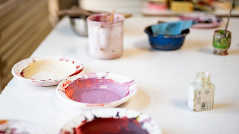 Dishes of coloured paint