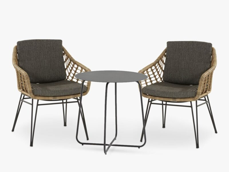 Rope weave chairs and round bistro table