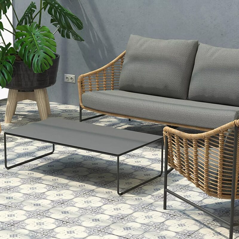 Contemporary garden furniture set with grey cushions
