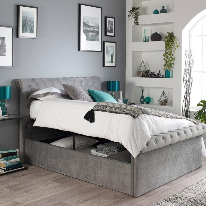 Chesterfield fabric storage bed