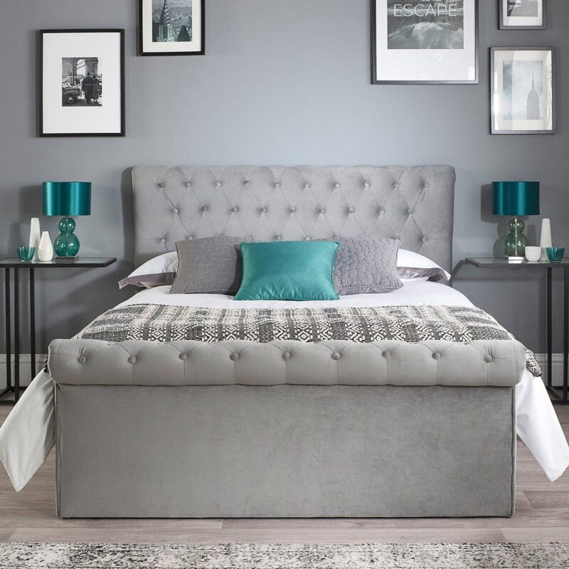 Grey Chesterfield-style storage bed