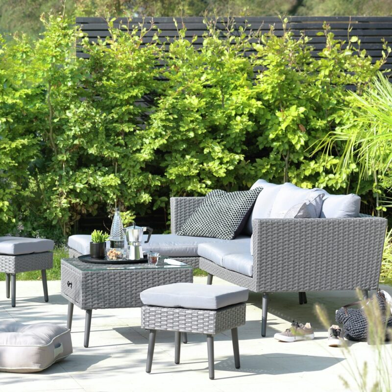 Grey rattan outdoor furniture set