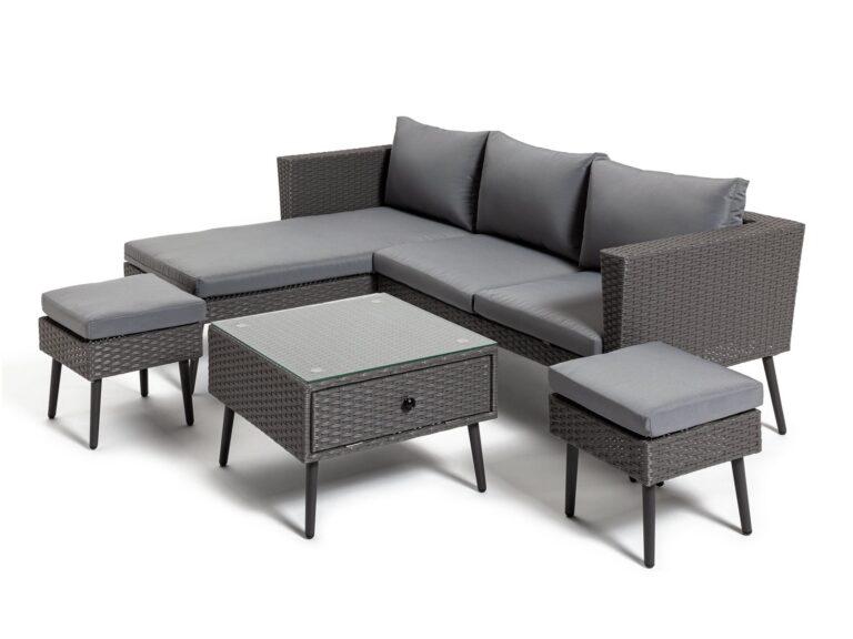 Grey rattan corner sofa, table and stools