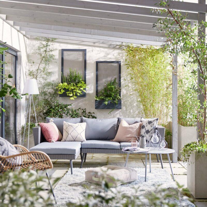 Grey rattan outdoor sofa set