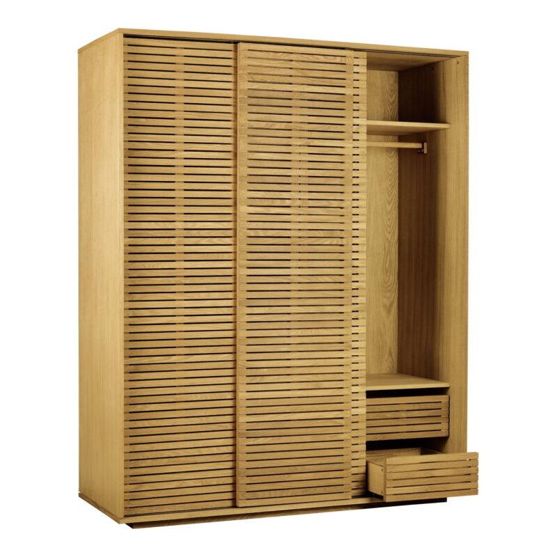 Oak wardrobe with slatted sliding doors