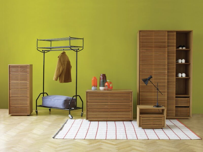 Oak bedroom furniture with slatted doors and drawers