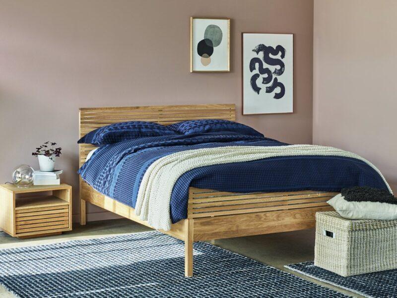 Slatted oak bed frame and bedside table
