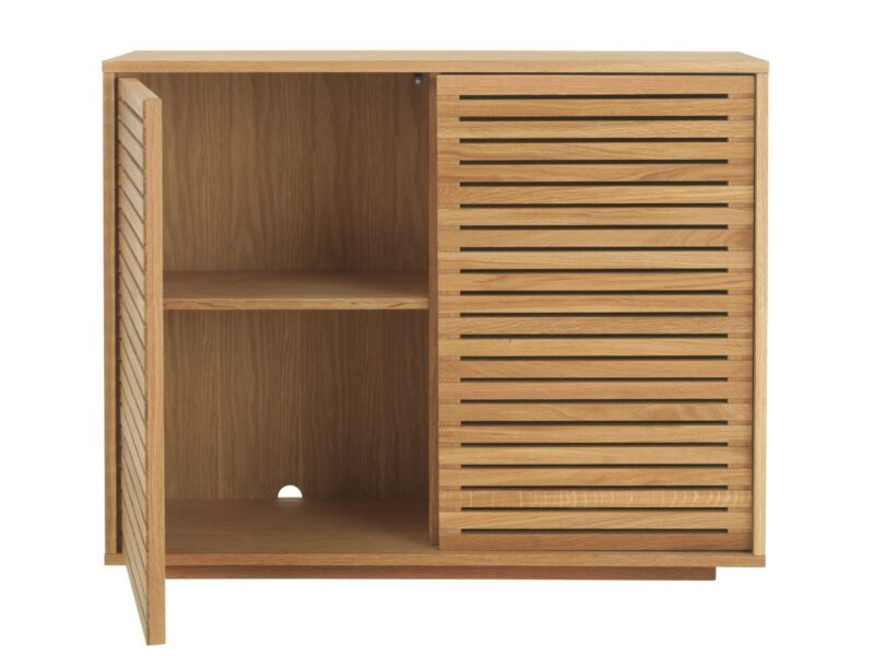 Storage console table with 2 slatted doors