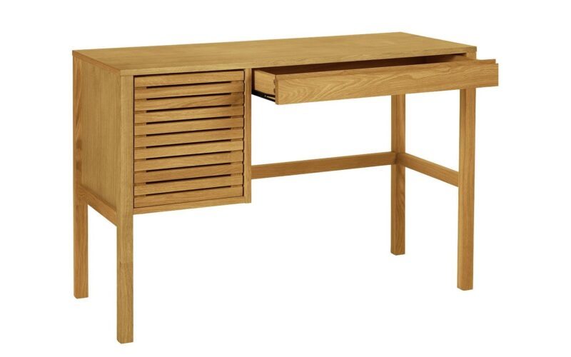 Oak desk with drawer and storage cupboard