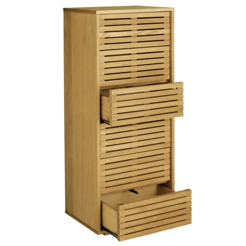 Tall 4-drawer chest with slatted fronts