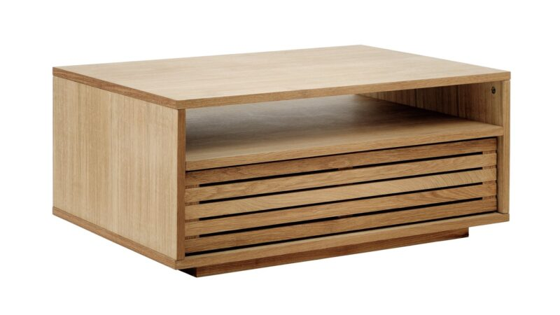 Oak coffee table with slatted sides