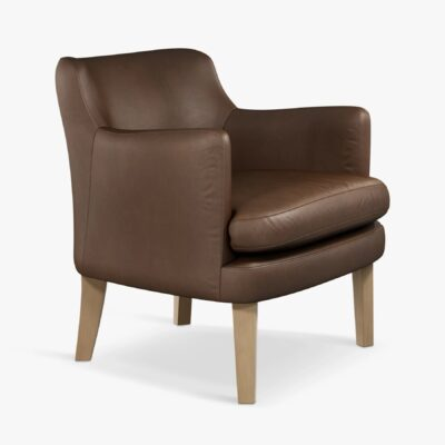 Leather armschair with washed chocolate finish