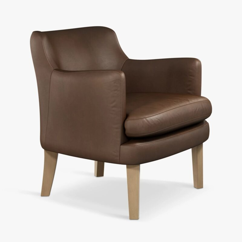 Leather armchair with washed chocolate finish