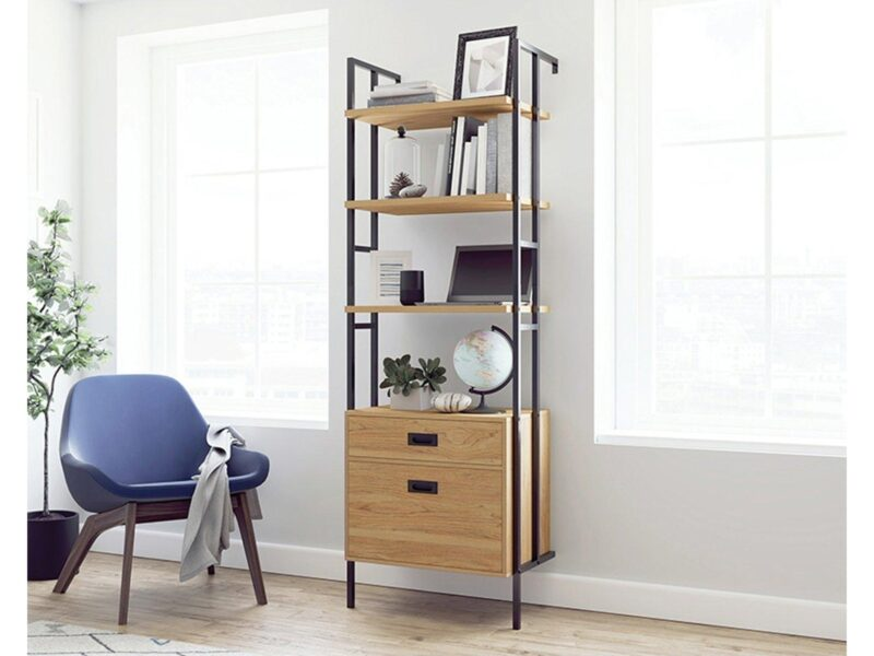 Wall mounted bookcase with teak shelves and drawers