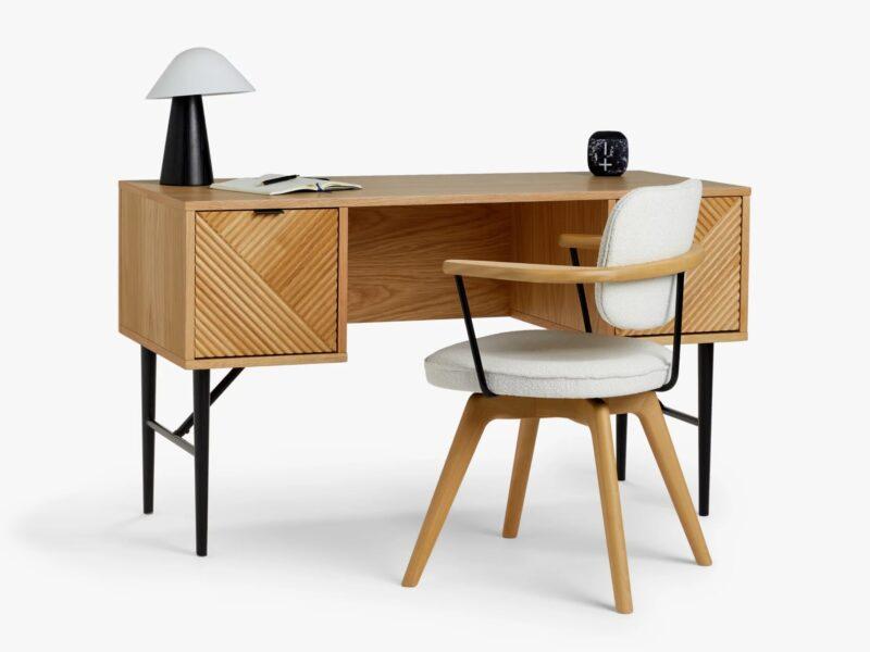 Oak desk with ridge pattern drawers