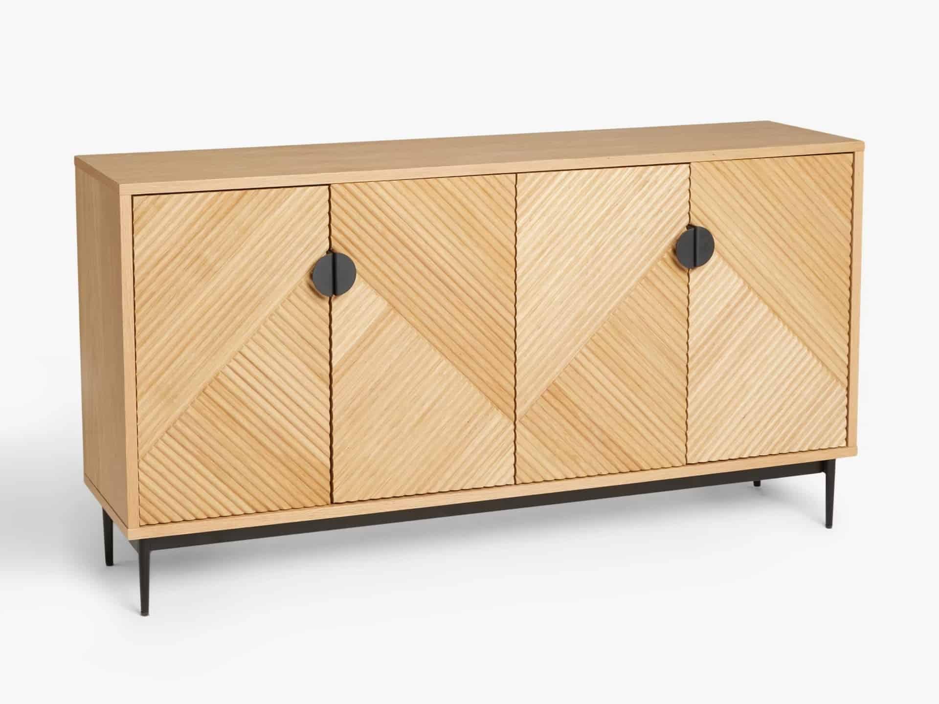 Oak sideboard with ridge-pattern doors