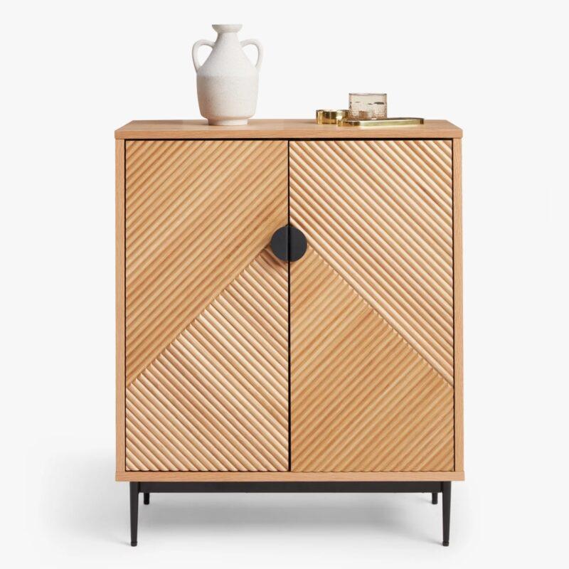 2 door oak cabinet with ridge-pattern doors